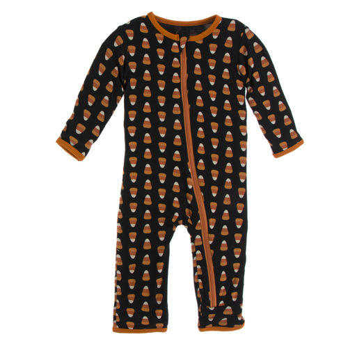 *Kickee Pants* Coverall with Zipper Midnight Candy Corn