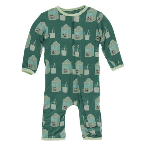 Print Coverall with Snaps Ivy Milk