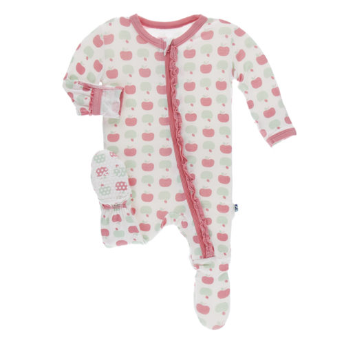 *Kickee Pants* Muffin Ruffle Footie with Zipper Natural Apples