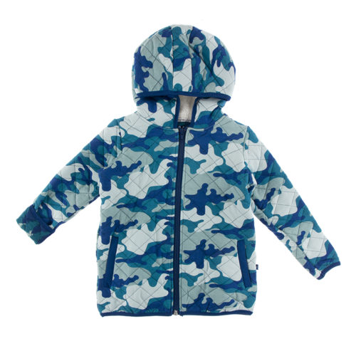 Kickee Pants Quilted Jacket with Sherpa-Lined Hood Oasis Military/Navy Forestry