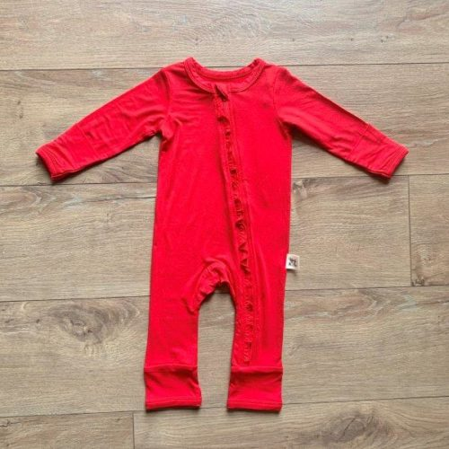 Kozi Coverall  Holly Red Solid Ruffle