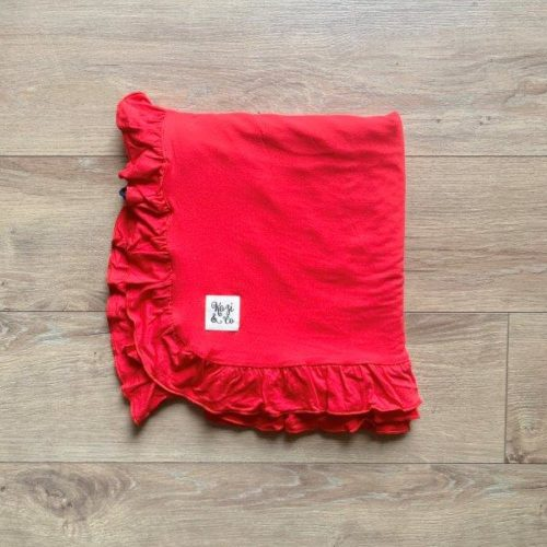 Kozi Blankets  Holly Red Solid Ruffle