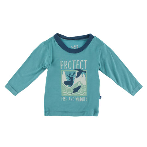 Kickee Pants Long Sleeve Graphic Easy Fit Crew Neck Tee Neptune Protect Fish and Wildlife