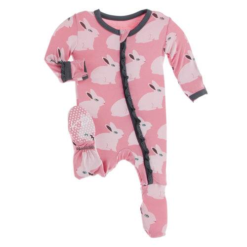 Kickee Pants Classic Ruffle Footie with Zipper Strawberry Forest Rabbit