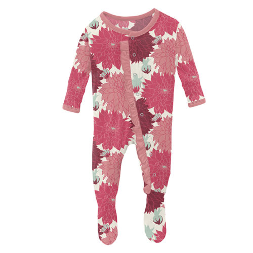 Kickee Pants Classic Ruffle Footie with Snaps Natural Dahlias