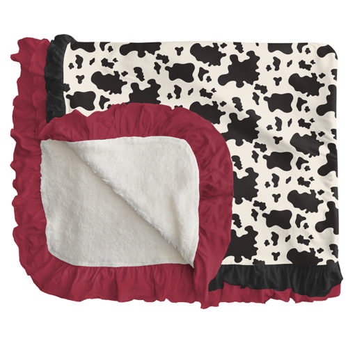 Kickee Pants Sherpa-Lined Double Ruffle Toddler Blanket Cow